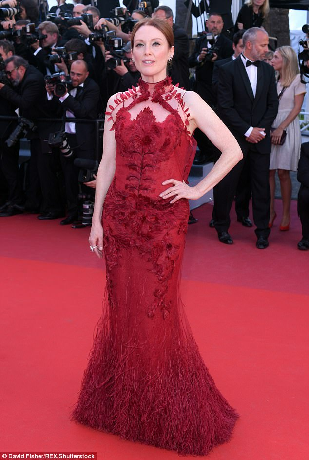 Working the red carpet: Julianne Moore, 56, pulled out all the stops for the 70th Cannes Film Festival Opening Gala on Wednesday evening