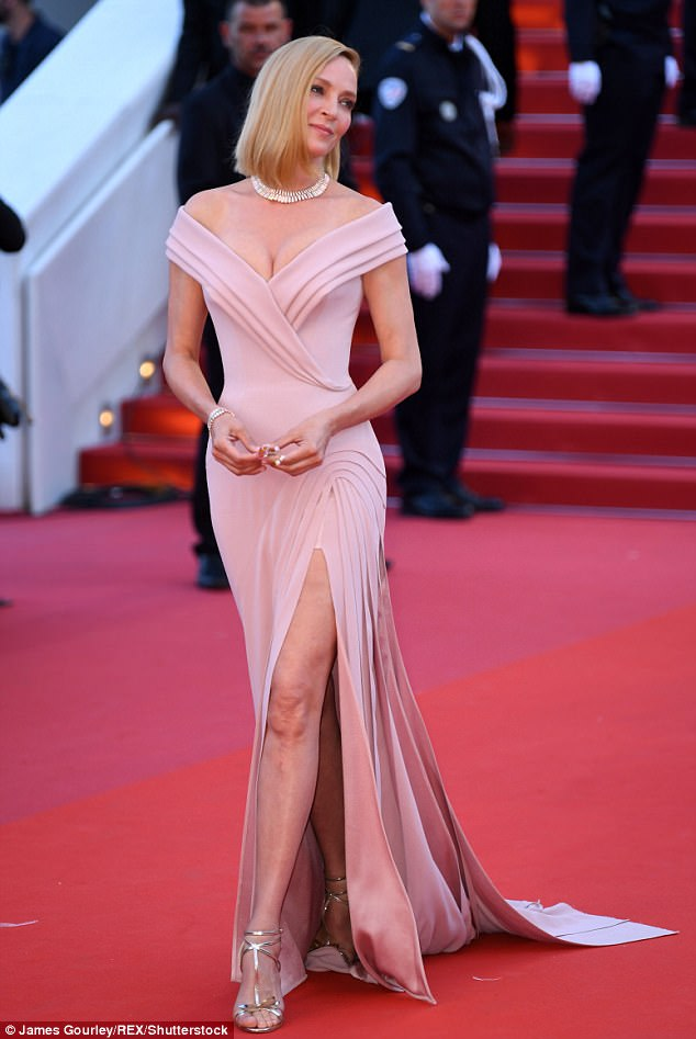 Stunner:Uma Thurman was on top red carpet form on Wednesday night as she joined the great and good of Hollywood at the Annual Cannes Film Festival's Opening Gala on the famous Palais des Festivals red carpet
