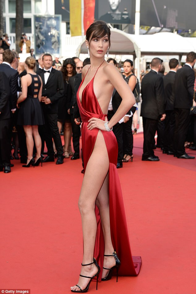 Slinky: Last year, Bella stole the show at the Unknown Girl premiere on 18 May 2016 as she sported the red gown which showed off her endless legs, perky cleavage and ultimately her lingerie when she unwittingly flashed the world's press