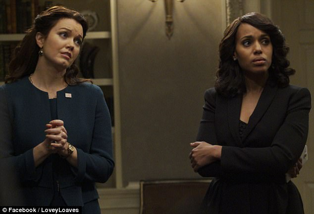 Wrapping up: Season six of Scandal will finish up with a two-hour finale Thursday at 9pm on ABC. Above you can see Washington as character Olivia Pope (right) beside Bellamy Young, who plays senator Mellie Graham in the series