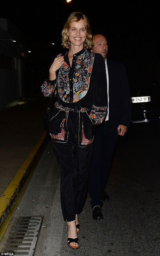 Chilling: Despite not pulling out all the stops, Eva still managed to looks sartorially savvy the night before as she headed to dinner at Tetou restaurant