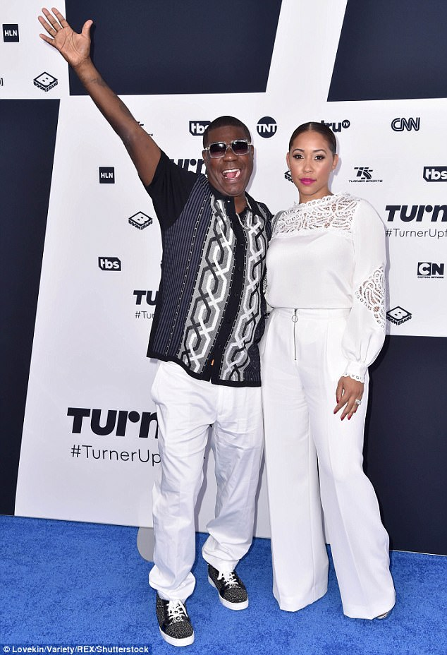 He's a happy guy:Tracy Morgan couldn't hide his excitement as he arrived with his wife Megan Wollover to the Turner Upfront presentation