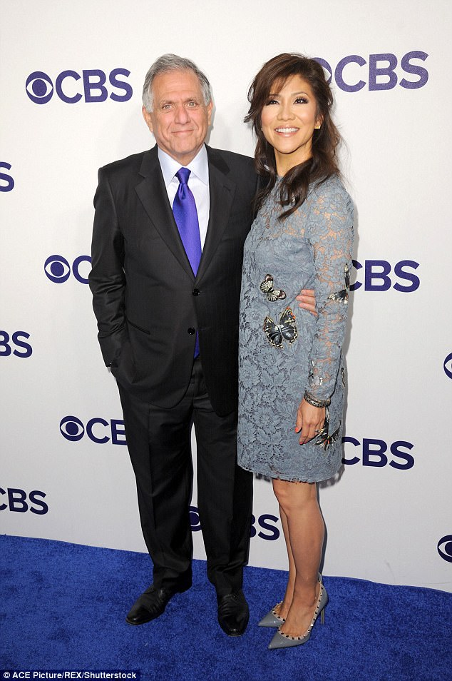 Power couple: CBS CEO Leslie Moonves arrived with news ancho wife Julie Chen