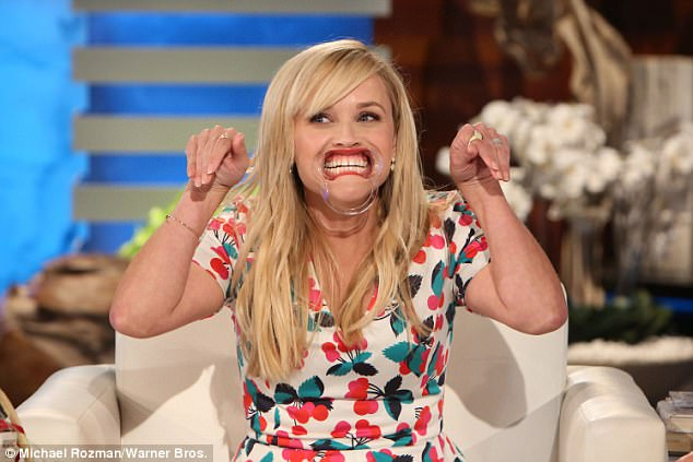 Little big mouth:To do so Reese had to stretch out her mouth using a device usually reserved for a dentist and then say funny phrases which Ellen had to decipher