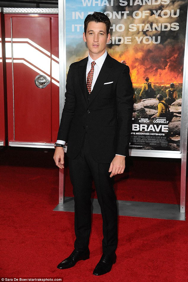 Youthful star: Also in the movie is Miles Teller who arrived looking sharp instylish black suit with shiny black shoes, a white shirt and colorful patterned tie
