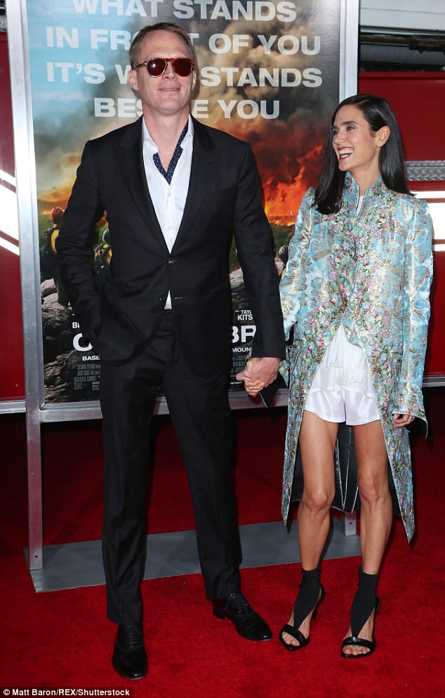 Must be love:Jennifer Connelly, 46, wowed on the arm of her husband Paul Bettany, 46, for Only The Brave red carpet at the Regency Village Theatre in Los Angeles, California on Thursday