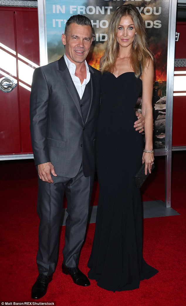 Happily wed: Josh Brolin showed off his gorgeous trophy wife Kathryn Boyd at the premiere of his new movie Only The Brave Sunday night