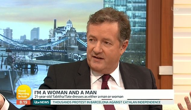 Piers Morgan clashed with his guest on GMB as he insisted Tabitha couldn't live life as both man and woman
