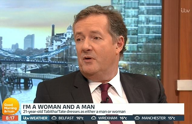 The GMB host questioned why Tabitha identified as gender fluid asking whether her biological father transitioning to a woman was part of it