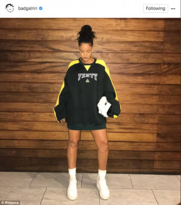 Dazzle: The Bump It On The Backside singer proved flawless once again in the black and yellow sweatshirt designed for her collaboration with Puma