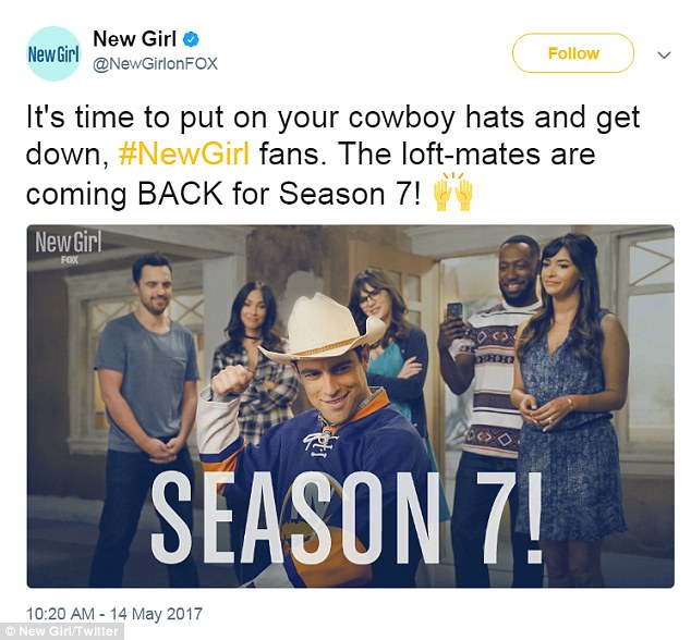 'The loft-mates are coming back!' And Fox officially renewed the Tennessee-born brunette's sitcom New Girl for an eight-episode seventh (and final) season on May 14