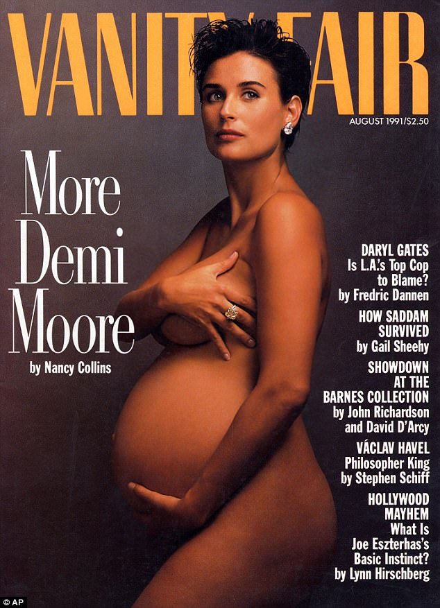 Inspired: Kneeling much like Demi did in Vanity Fair back in 1991 (above), Chanelle displayed her bump as she posed in nothing but a pair of black lace briefs, with her arms across her chest