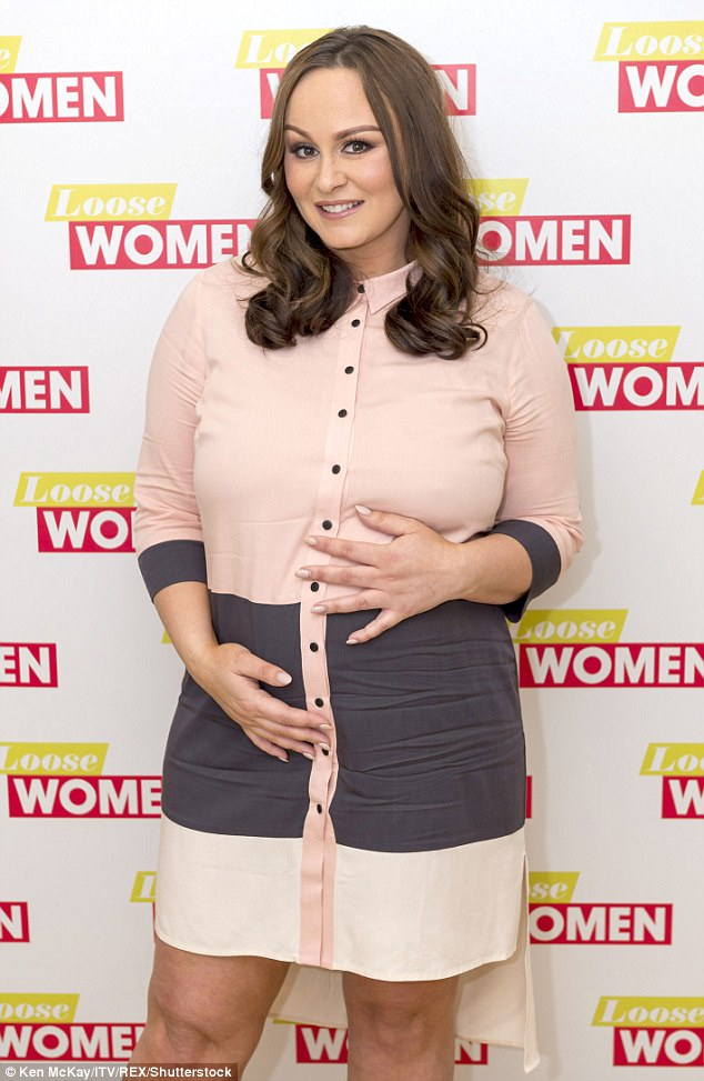 Difficult: Chanelle beamed confidently as she cradled her bump for the cameras - despite recent news that she could be at risk of gestational diabetes due to her weight