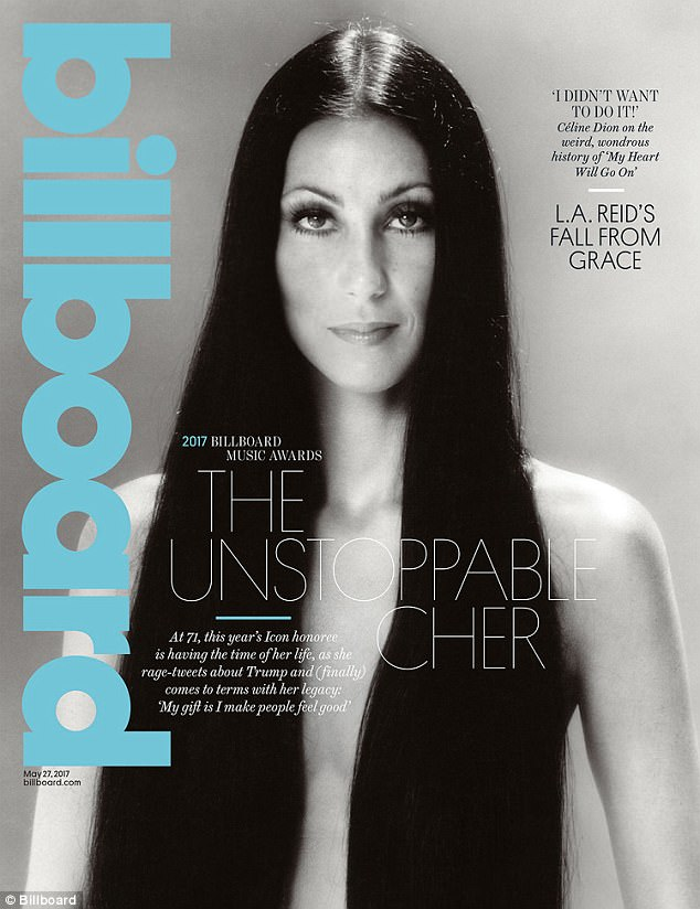 Cover girl: A classic shot of Cher from the 1970's graces the cover of Billboard's current issue