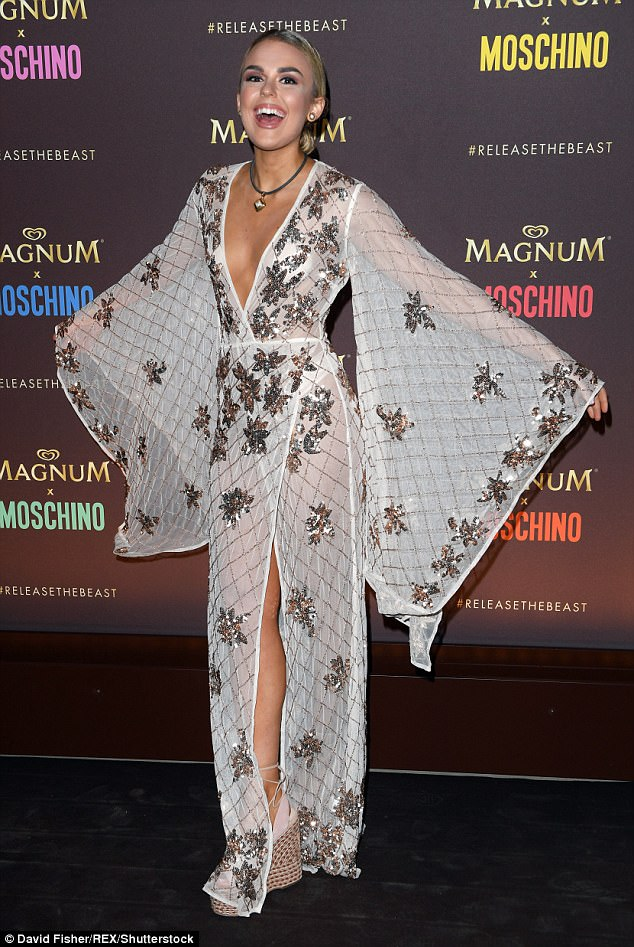 Billowing: Another red carpet lover in Kimberley's midst was Tallia Storm who looked incredible in a boho-inspired ensemble