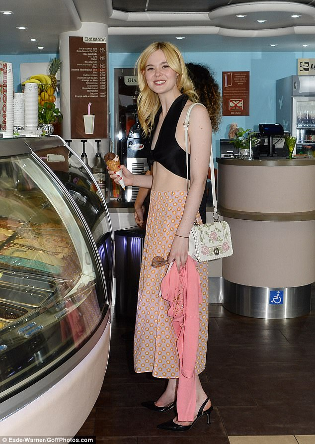 Feeling sweet: The actress appeared to enjoy a break from her busy schedule