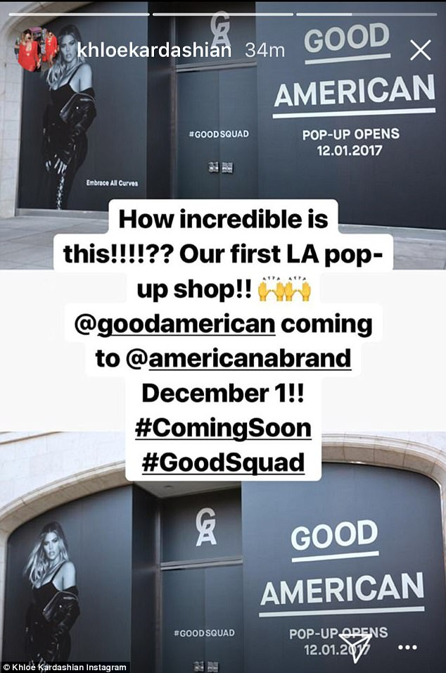 Many thanks: Khloe was also grateful for her Good American clothing line as it will soon open a pop-up shop in Los Angeles