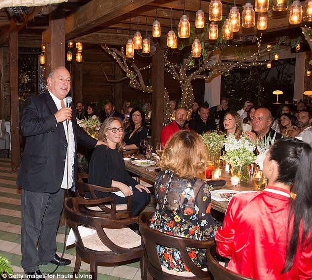 Pure wealth: Sir Philip was in his element hosting the celebration of the Topshop and Topman Miami store opening at Cecconi's at Soho Beach House on Saturday night