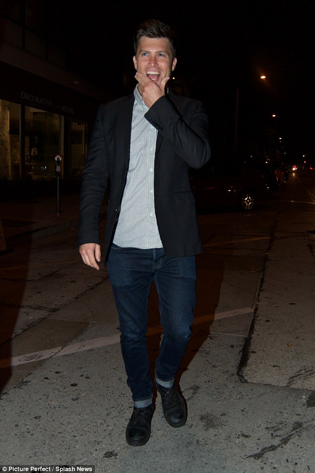 Colin said that new girlfriend Scarlett 'is pretty cool ¿ it¿s hard to have a lot of complaints'; seen here leaving Craig's restaurant in Beverly Hills in July