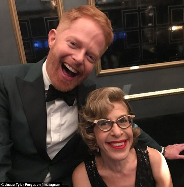 Beaming: Jesse couldn't contain his smile while posing with Emmy winner Jackie Hoffman