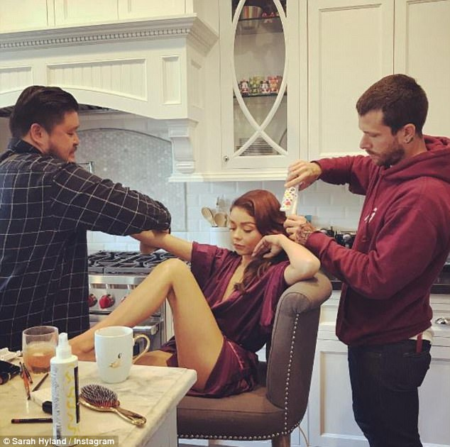 Getting ready: Despite missing out on the award for Outstanding Comedy Series to Veep, the cast of Modern Family continued the party as show star Sarah Hyland, 26, shared a few behind-the-scenes photos of her getting ready before the big event