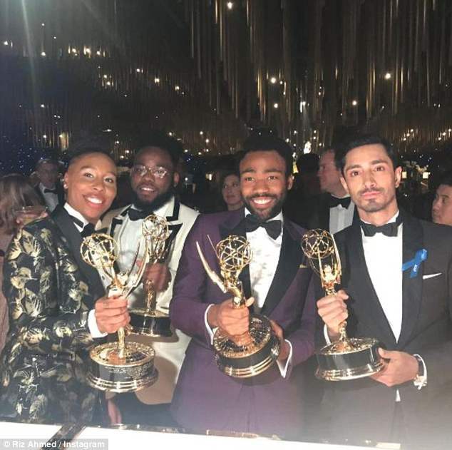 Winners: Aside from the Modern Family cast, British star and Emmy winner Riz Ahmed documented his award-winning night alongside fellow winners Donald Glover and Lena Waithe