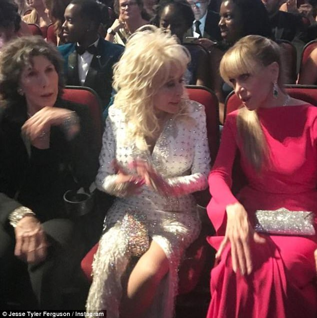 High spirits: The TV star shared a snap of the stars of 9 to 5 - Lily Tomlin, Dolly Parton and Jane Fonda
