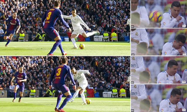 El Clasico: Ronaldo hit in the face by Messi shot and more