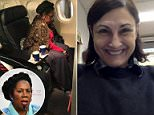 Jean-Marie Simon, 63, was flying home on December 18, having boarded a flight in Houston bound for the capital. She said the airline denied her a seat she paid for in first class and instead gave it to Democratic Rep. Sheila Jackson Lee (seen in the seat near the window)