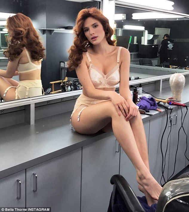 Classic movie star vibes: Bella Thorne was spotted in her dressing room for filming while wearing a bra and panties set