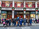 Hundreds of customers create queue of over 50 yards in each direction on Regent Street as they wait for Hamley's Toy Store to open