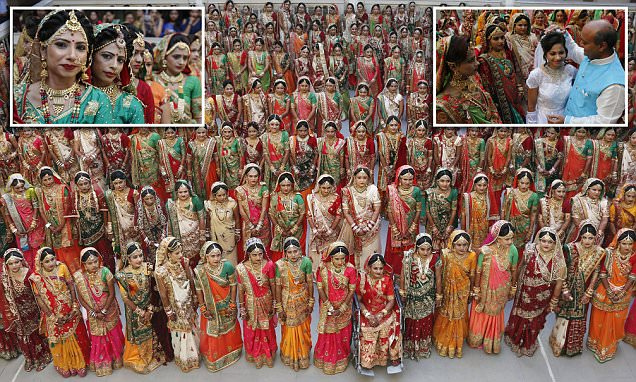 Hundreds of fatherless brides in India tie the knot
