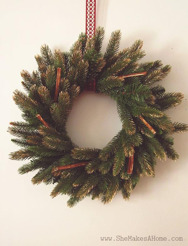 golden cinnamon diy christmas wreath