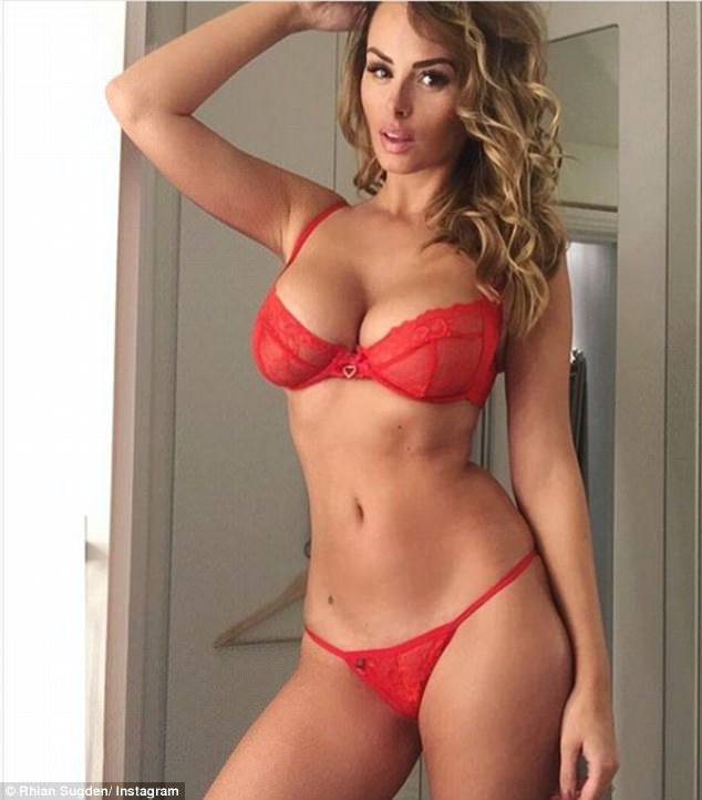 Lady in red: Teasing fans in sexy red lingerie on Friday, Rhian revealed that she has lost a dress size due to being under the weather