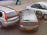 Crowds gathered to watch a woman try and fail to park her car (pictured) for over three minutes in Hull city centre this week