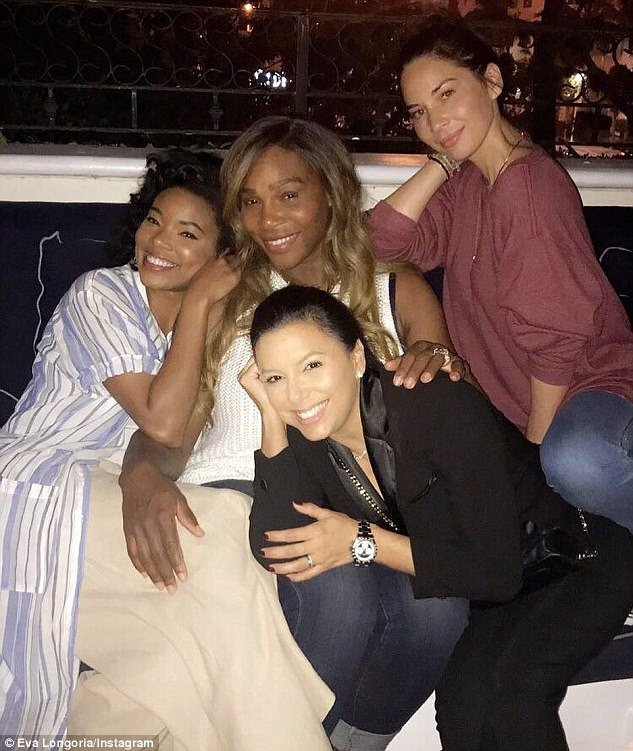 Famous friends: The actress also shared an Instagram snap on Saturday of herself with Eva, Gabrielle Union and Serena Williams