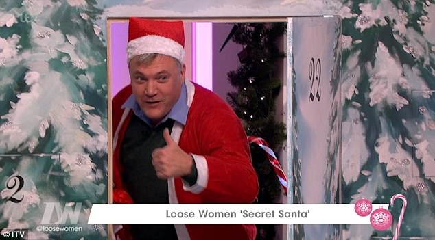 Festive cheer: The Secret Santa segment, saw the women give each other gifts but it was Ed's exit that caused the most excitement.