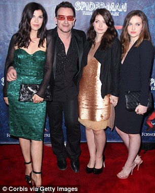 Praised: The star also praised his wife Ali and children Eve Hewson and Jordan Hewson (right) for getting him through the frightening event
