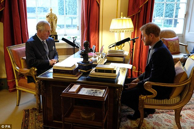 Prince Harry (right) interviewed his father Prince Charles (left) today and told him that he 'picks his brain more than ever'