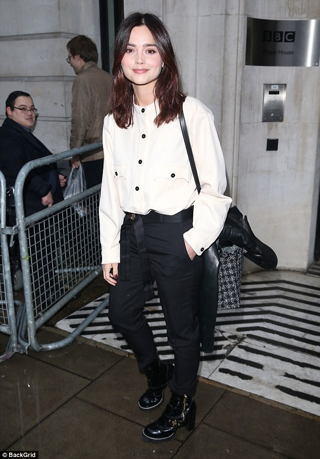 So chic:Jenna Coleman looked the picture of glamour as she headed to BBC Radio 2 to talk to host Chris Evans on Friday
