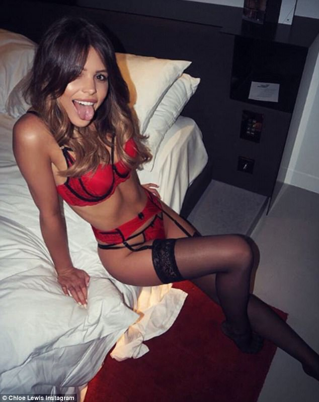 Sex kitten: TOWIE star Chloe Lewis, 26, flaunted her enviably toned physique as she posed sultrily on a bed in a lacy bra, knickers and suspenders in an Instagram snap on Thursday