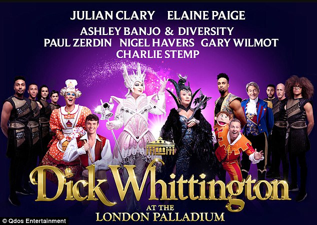 In close second:Julian Clary, 58, is understood to be earning around £192k for playing Spirit of the Bells. He is acting in the 64-show run of Dick Whittington at the London Palladium, and joined by legend of musicals Elaine Paige