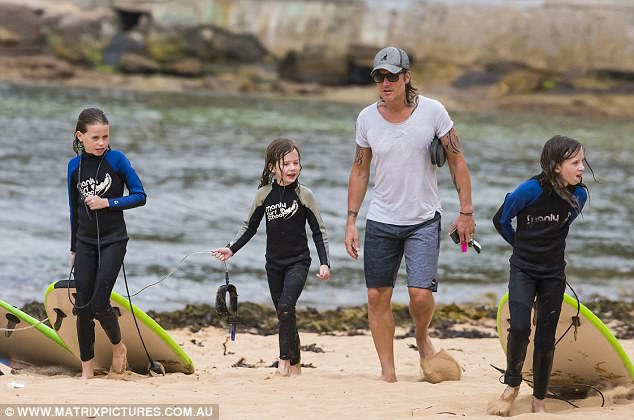 More the merrier!They were also joined by Nicole's sister Antonia's 10-year-old daughter Sybella Hawleyfor the surf lesson