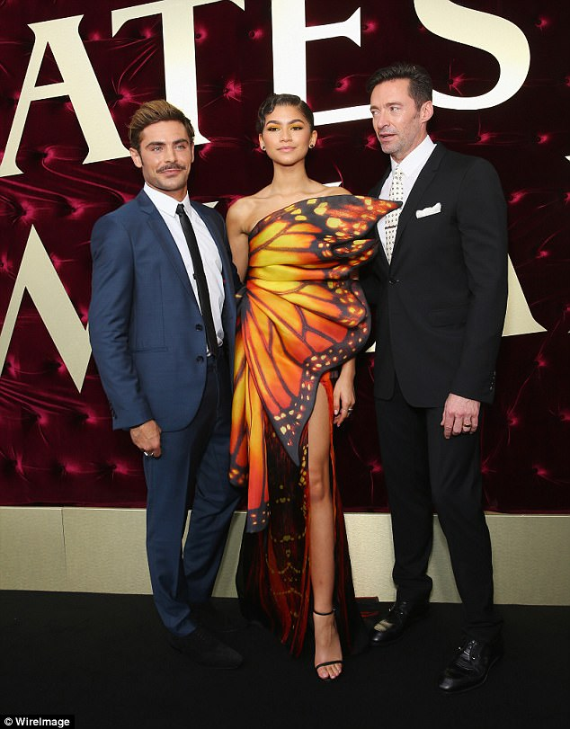 'Time to reflect': This month, Hugh sparked retirement concerns when he said his promotional duties for The Greatest Showman will be followed by 'a period of unemployment' (seen with co-stars Zendaya and Zac Efron)