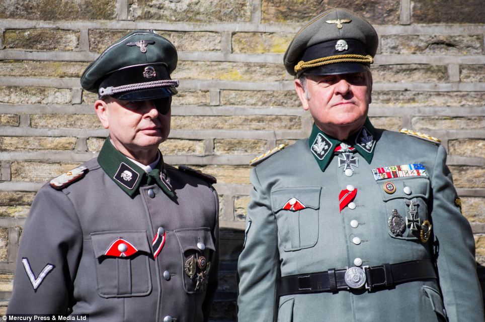 Not encouraged: Attendees dressed in Nazi uniforms at Haworth's 1940s Weekend