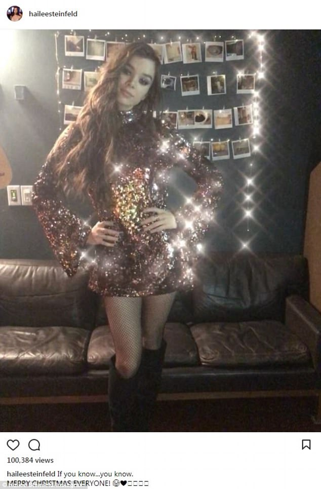 Her little dance: The star looked snazzy in a sequined mini dress as she did a dance toJingle Bell Rock while re-creating a scene from Mean Girls on Monday