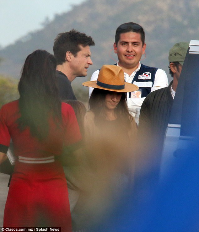 Good group:The couple arrived by private jet alongside Jennifer's friend and co-star of more than two decades Jason Bateman and his wife Amanda Anka (both pictured)