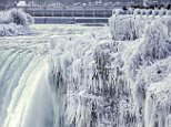 Parts of Niagara falls have frozen as bitter cold weather has swept over most of the northern United States, leaving many areas looking like Narnia