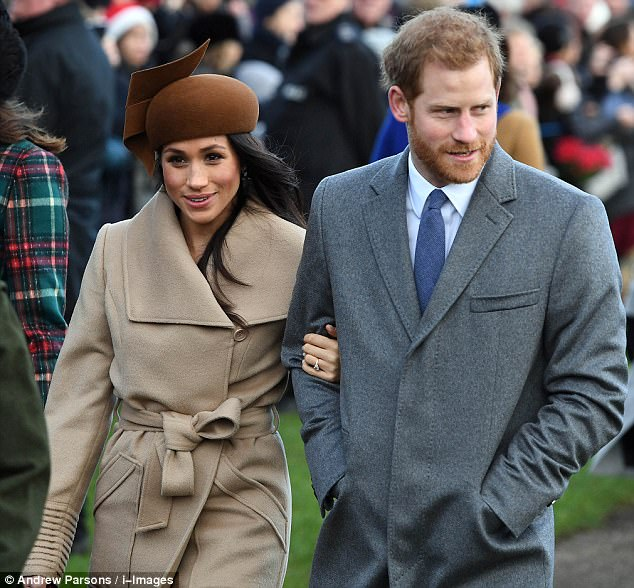 Prince Harry (pictured with Miss Markle in Sandringham on Christmas Day) said they had a 'fantastic' Christmas together