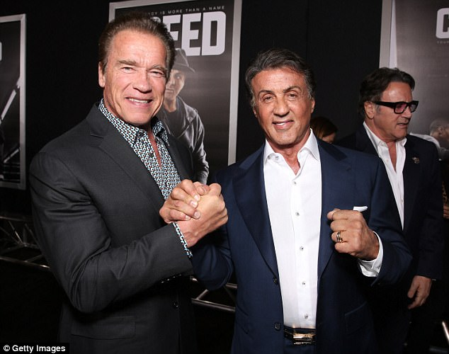 Strongmen: The tandem posed together at a 2015 screening of Sly's film Creed in LA
